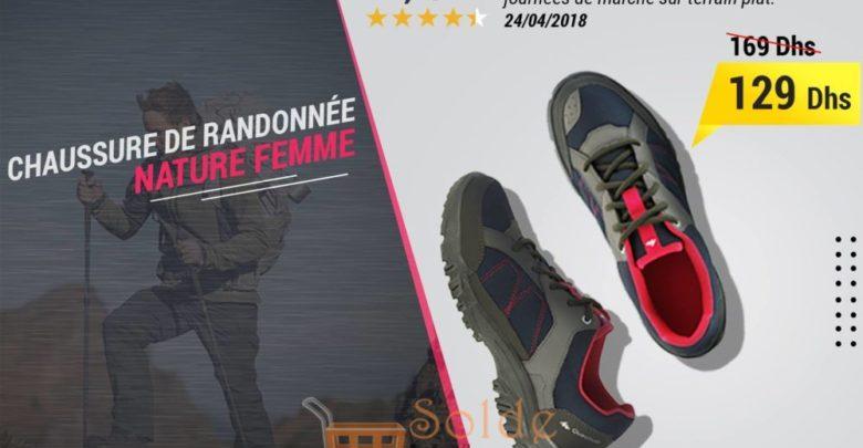 Promo Decathtlon Chaussure de randonnée nature NH100 bleu rose femme 129Dhs au lieu de 169Dhs