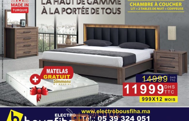 Promo Electro Bousfiha Chambre à Coucher Complete 11999Dhs au lieu de 14999Dhs