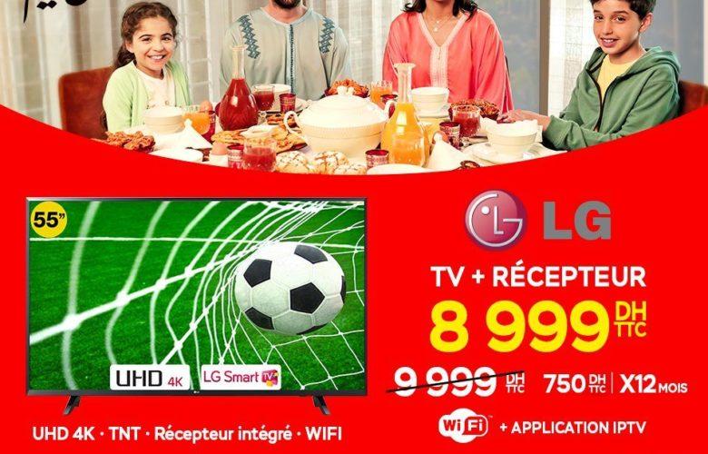 """Promo Electroplanet Smart TV LG 55"""" 4K + Récepteur Pinacle IPTV 8999Dhs au lieu de 9999Dhs"""