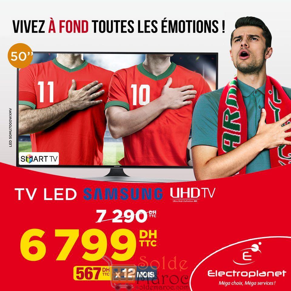 """Promo Electroplanet Smart TV UHD Samsung 50"""" 4K 6799Dhs au lieu de 7690Dhs"""