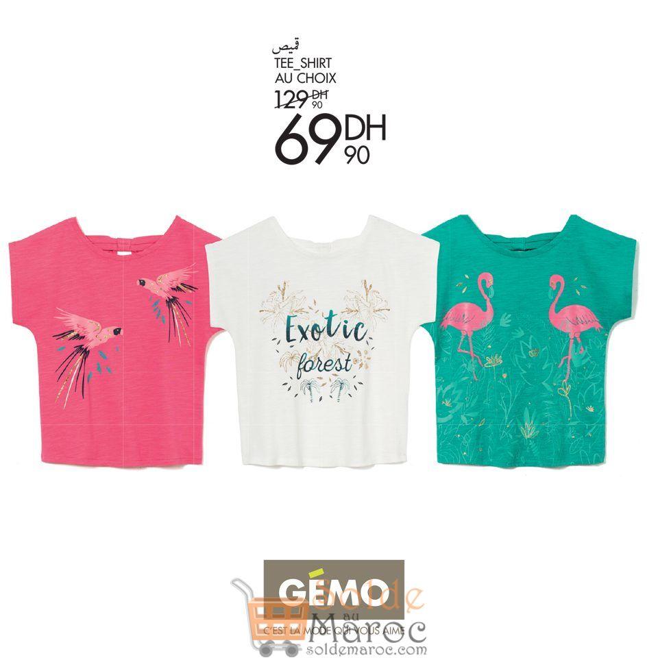 Soldes Gémo Maroc Tee-shirt Couleur Exotique 69Dhs au lieu de 129Dhs