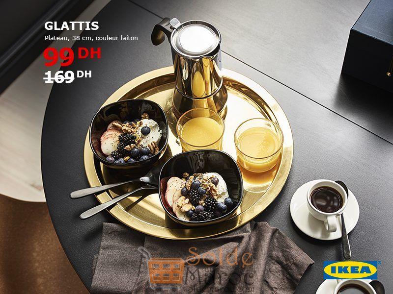 Promo Ikea Maroc Plateau GLATTIS Laiton 99Dhs au lieu de 169Dhs