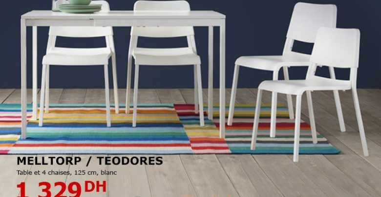Photo of Promo Ikea Maroc Table + chaises Blanche MELLTORP / TEODORES 1329Dhs