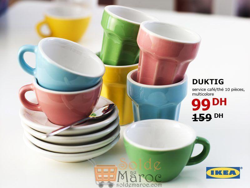 Soldes Ikea Maroc Service café/thé 10 pièces Multicolore DUKTIG 99Dhs au lieu de 159Dhs