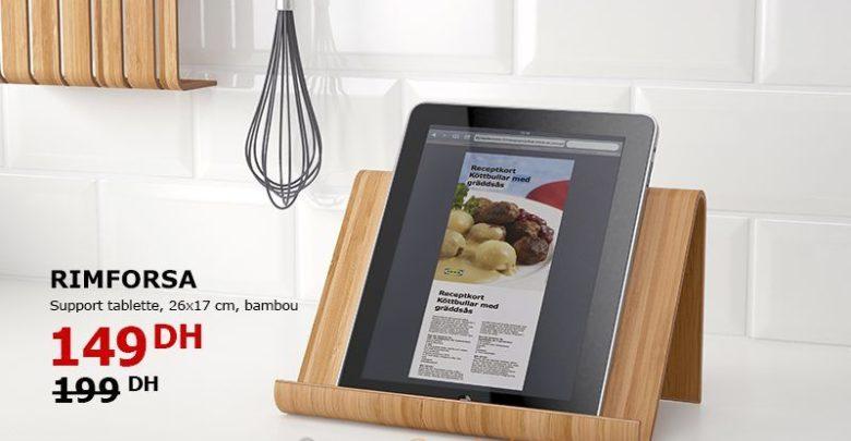 Soldes Ikea Maroc Support Tablette Bambou RIMFORSA 149Dhs au lieu de 199Dhs