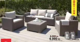 Promo Kitea SET Canapé + 2 fauteuils + Table Basse CALIFORNIE 6990Dhs au lieu de 8995Dhs