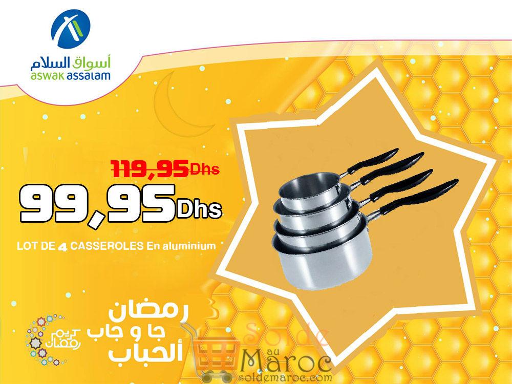Promo Aswak Assalam LOT DE 4 CASSEROLES En aluminium 99,95Dhs au lieu de 119,95Dhs