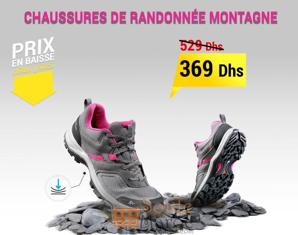 Promo Decathlon Maroc Chaussures de randonnée montagne femme MH100 Gris Rose 369Dhs au lieu de 529Dhs