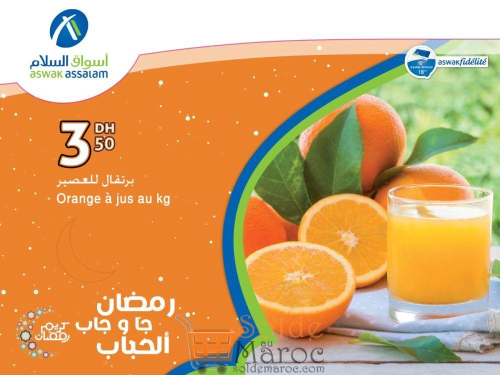 Offre Exceptionnel Aswak Assalam Orange à Jus 3.50Dhs