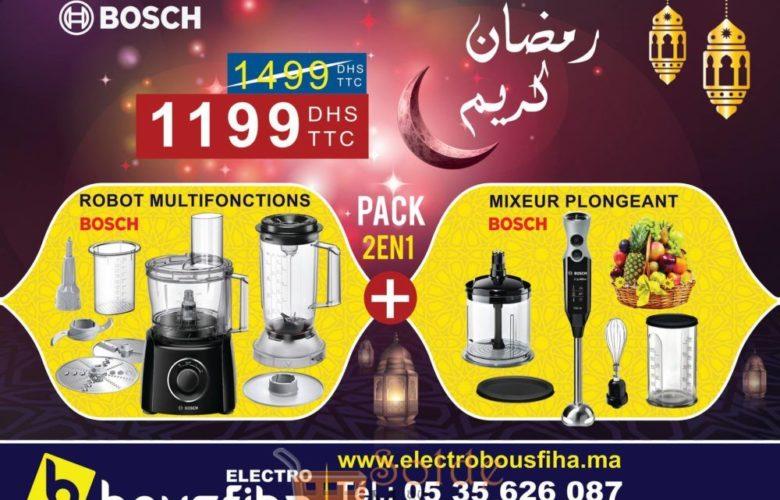 Offre Spéciale Electro Bousfiha Pack Bosch Robot Multifonctions + Mixeur Plongeant 1199Dhs au lieu de 1499Dhs