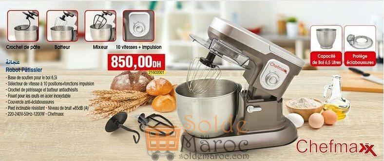 Meilleur Offre Bim Maroc Robot Pâtissier عجانة CHEFMAXX 6.5Litres 850Dhs