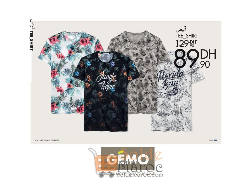 Soldes Gémo Maroc Tee-shirt Adulte 89Dhs au lieu de 129Dhs