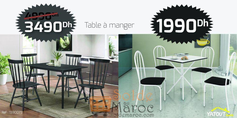 Promo Yatout Home Table à Manger 3490Dhs au lieu de 4990Dhs