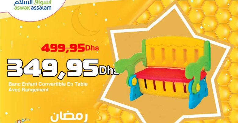 Promo Aswak Assalam Banc Enfant Convertible En Table Avec Rangement 349,95Dhs au lieu de 499,95Dhs