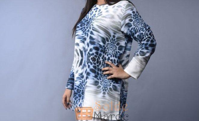 Promo Niswa Tunique Tissu en crêpe bubbles imprimé 149Dhs au lieu de 299Dhs