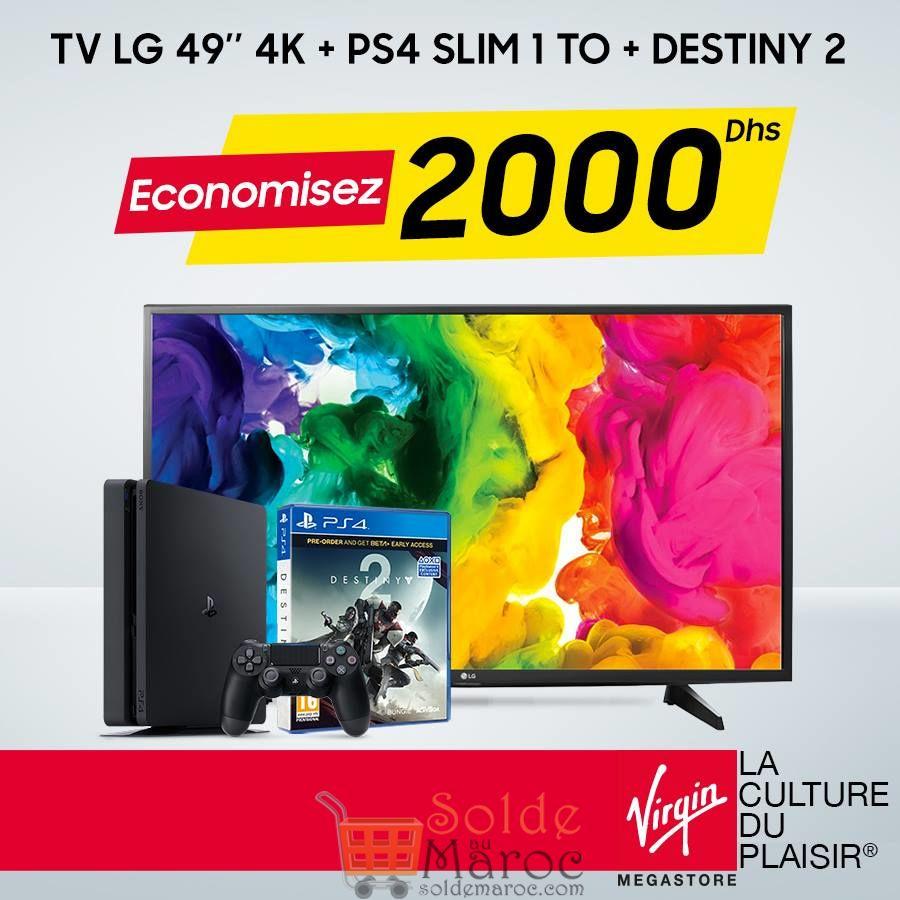 """Offre Spéciale Virgin Megastore TV LG 49"""" 4K + 1 Console PS4 Slim 1To + 1 Jeu Destiny2"""