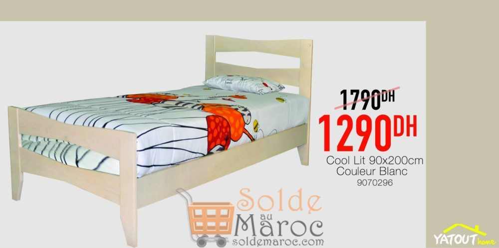 Promo Yatout Home Cool Lit 90x200 Blanc 1290hs au lieu de 1790Dhs