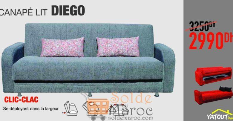 Soldes Yatout Home Canapé-lit DIEGO 2990Dhs au lieu de 3250Dhs