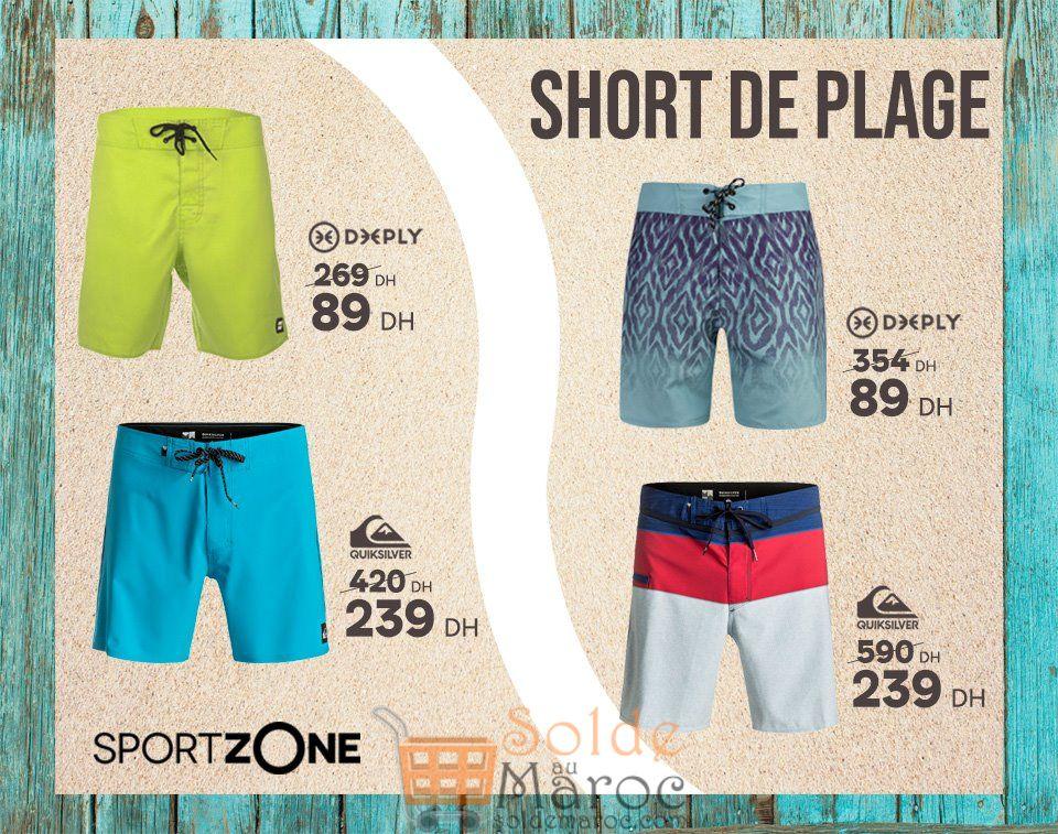 Promo Sport Zone Maroc Short de Plage