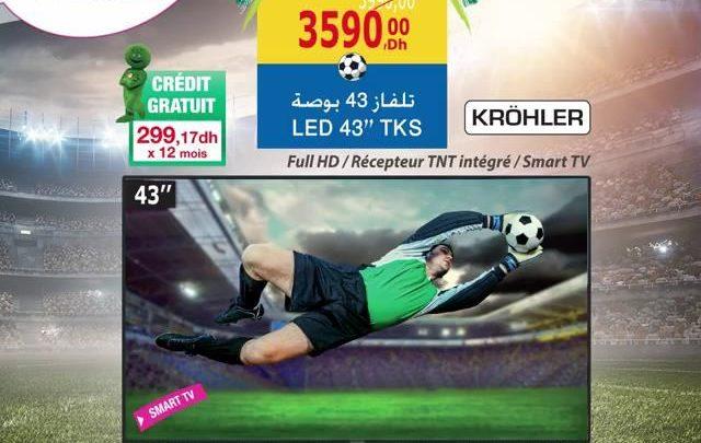 Photo of Promo Aswak Assalam Smart TV KROHLER 43″ récepteur TNT intégrer 3599Dhs