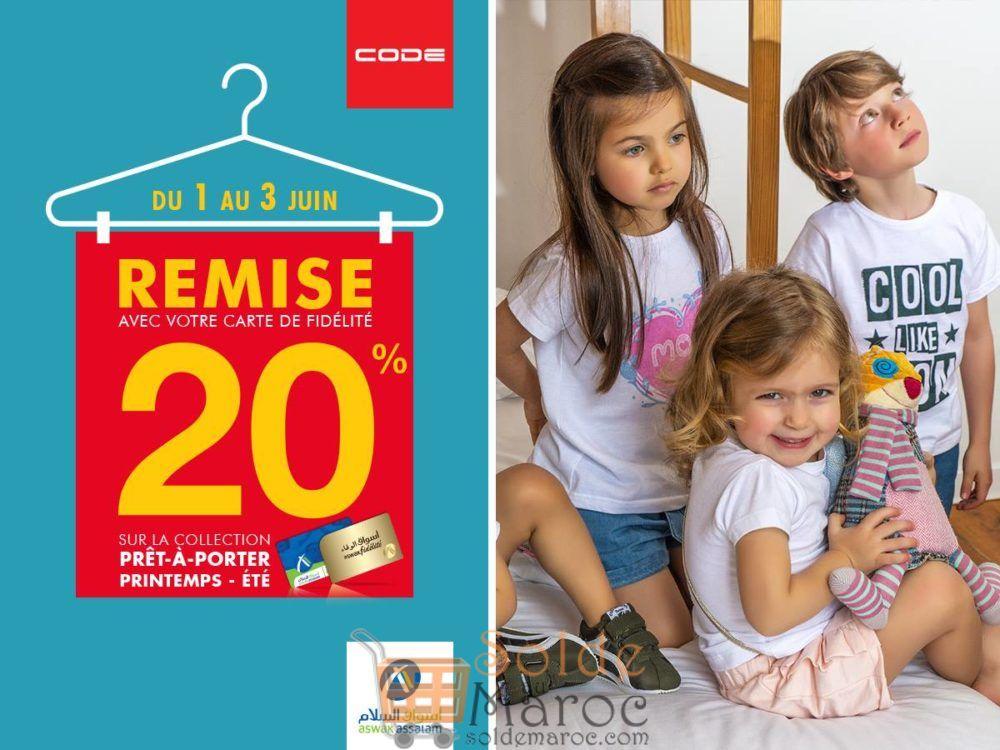 Du 01 au 03 juin -20% la collection Printemps-Été CODE chez Aswak Assalam