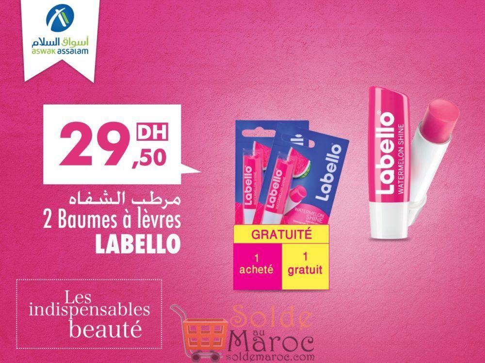 Promo Aswak Assalam Baumes à lèvres LABELLO 1=2