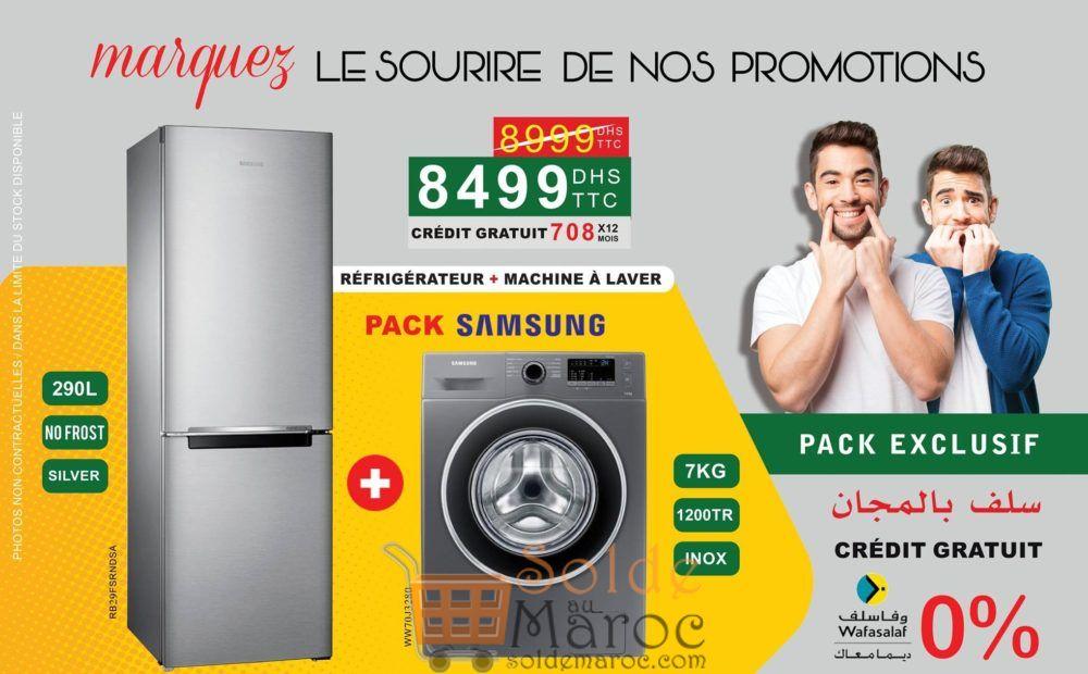 Promo Bousfiha Electro Pack SAMSUNG Réfrigérateur + Lave-Linge 8499Dhs au lieu de 8999Dhs