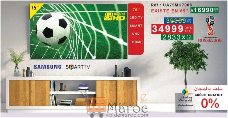 """Promo Electro Bousfiha Smart TV 75"""" 4K 34999Dhs au lieu de 39999Dhs"""