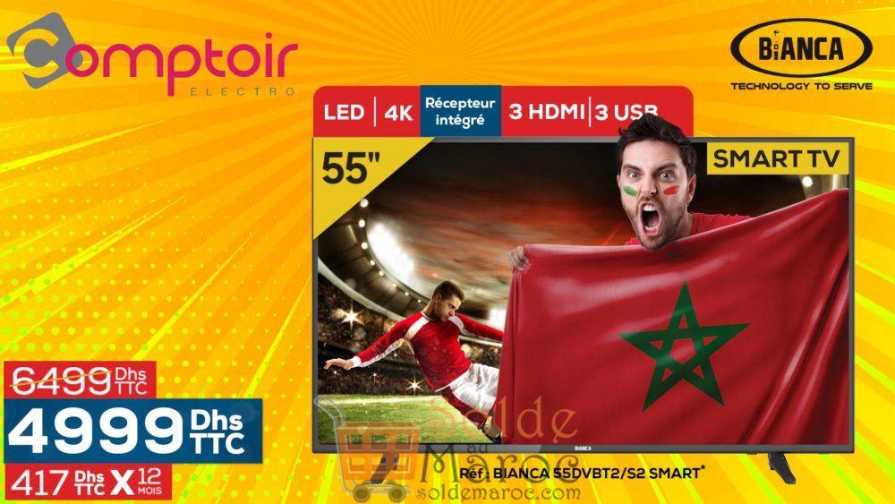 """Promo Le Comptoir Electro Smart TV 55"""" 4K BIANCA 4999Dhs au lieu de 6499Dhs"""