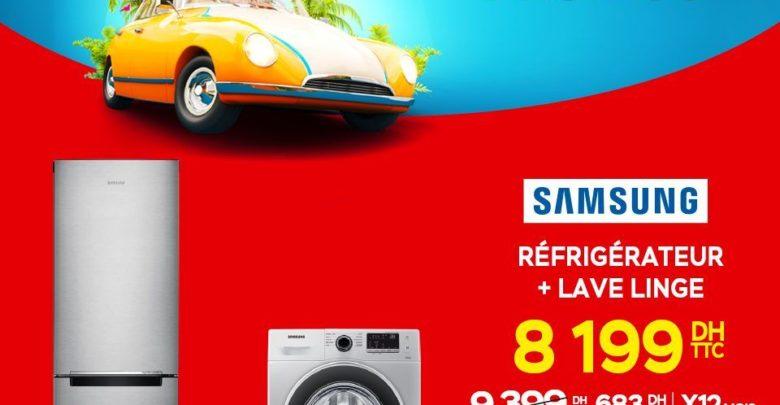Promo Electroplanet Pack Samsung Réfrigérateur 290L + Machine à laver 6KG 8199Dhs au lieu de 9399Dhs