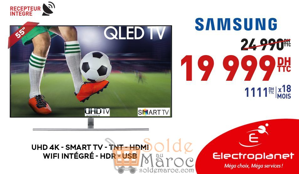 promo electroplanet smart tv samsung 55 4k 19999dhs. Black Bedroom Furniture Sets. Home Design Ideas