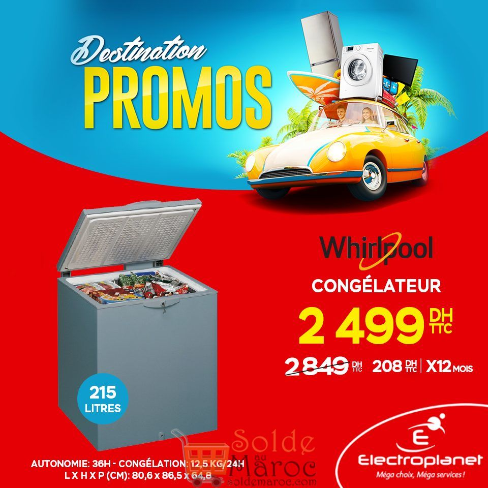 Promo Electroplanet Congélateur Whirlpool 2499Dhs au lieu de 2849Dhs