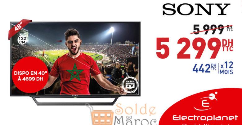 """Promo Electroplanet Smart TV 48"""" Sony 5299Dhs au lieu de 5999Dhs"""