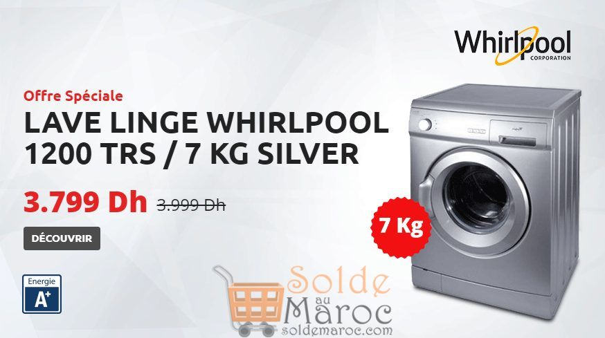 promo tangerois electro machine a laver frontale 7kg silver whirlpool 3799dhs les soldes et. Black Bedroom Furniture Sets. Home Design Ideas
