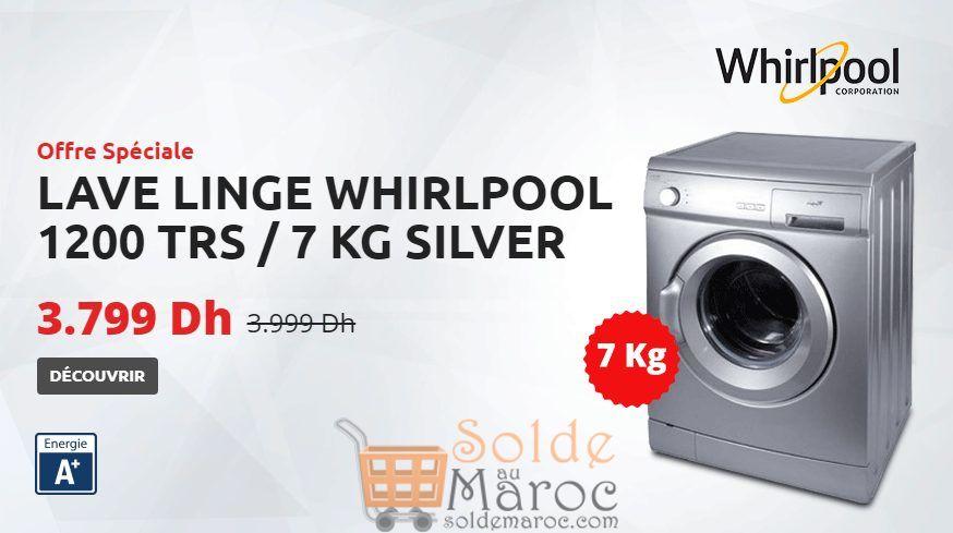 Promo Tangerois Machine A Laver Frontale 7kg SILVER WHIRLPOOL 3799Dhs au lieu de 3999Dhs