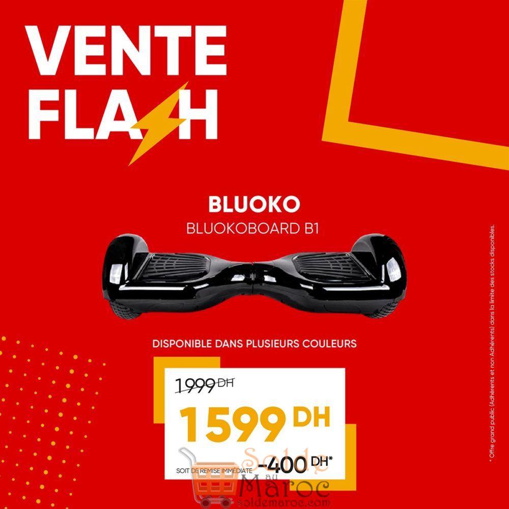 Vente Flash Fnac Maroc Hoverboard BLUOKOBOARD B1 1599Dhs au lieu de 1999Dhs