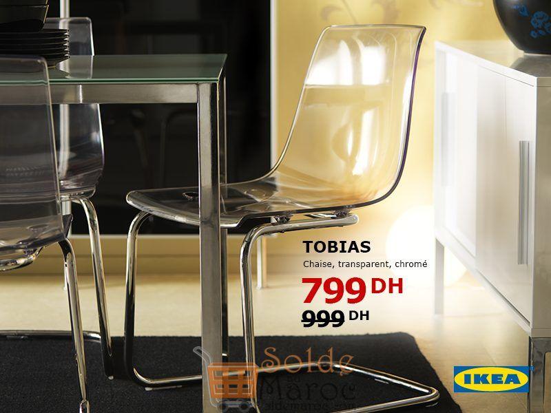 Soldes Ikea Maroc Chaise TOBIAS Transparent 799Dhs au lieu de 999Dhs