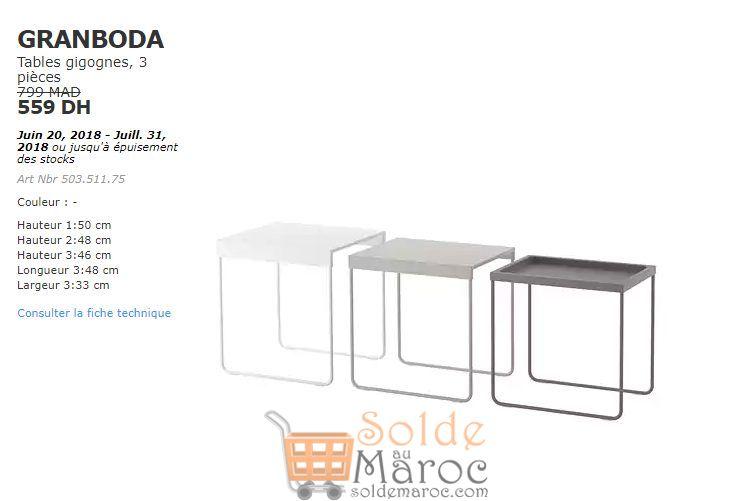 Soldes Ikea Maroc Tables Gigognes 3 pièces GRANBODA 559Dhs au lieu de 799Dhs
