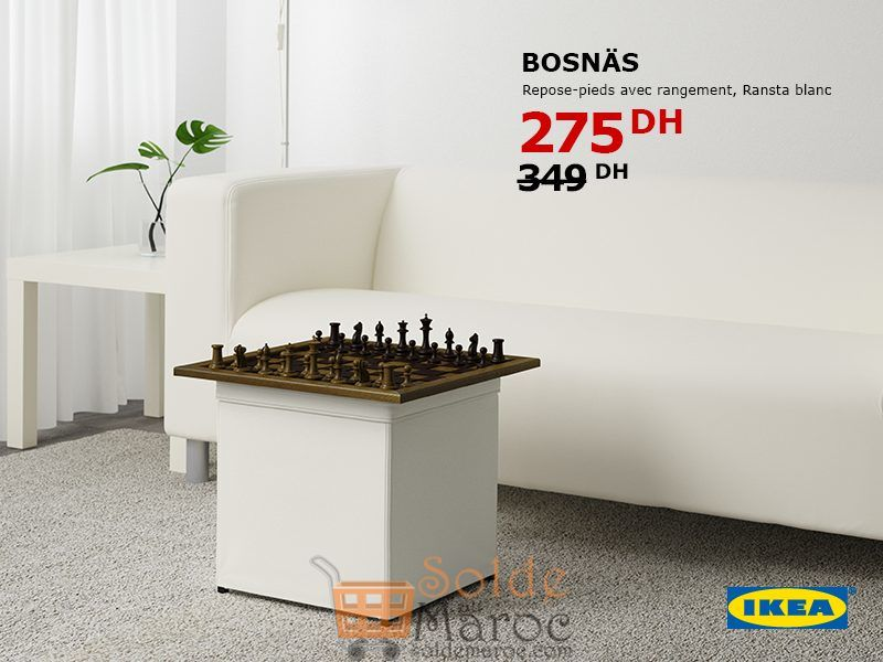 soldes ikea maroc repose pieds avec rangement bosnas 275dhs. Black Bedroom Furniture Sets. Home Design Ideas