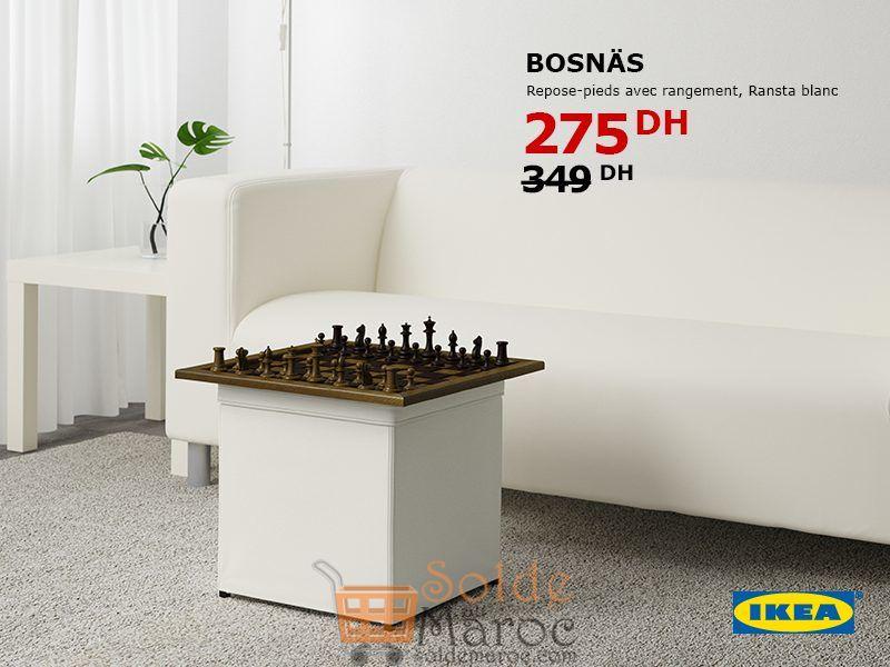 Soldes Ikea Maroc Repose-pieds avec Rangement BOSNAS 275Dhs au lieu de 349Dhs