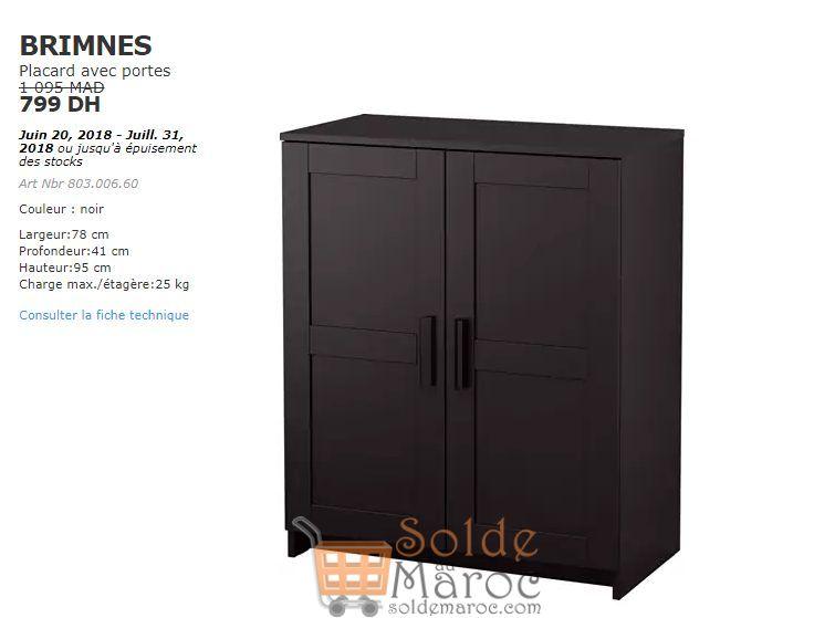 Soldes Ikea Maroc Placard avec portes BRIMNES 799Dhs au lieu de 1095Dhs