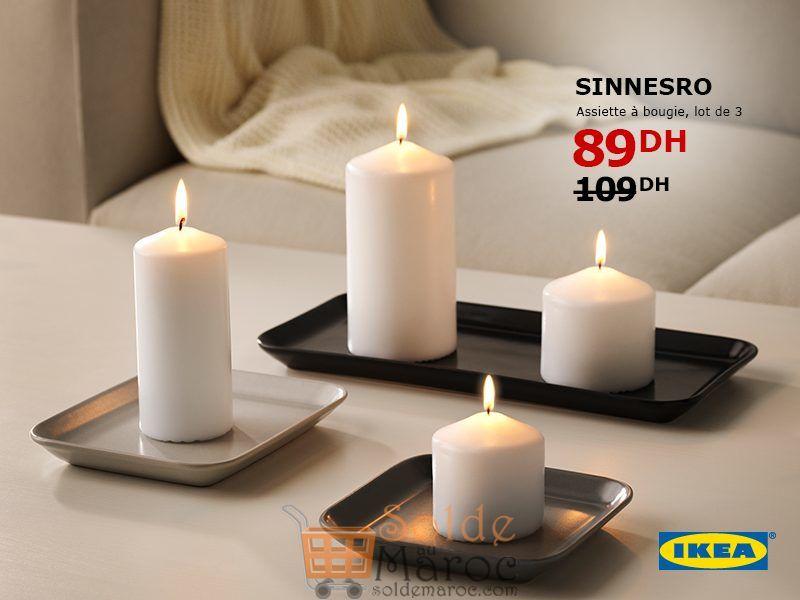 Soldes Ikea Maroc lot de 3 Assiettes à Bougie 89Dhs au lieu de 109Dhs