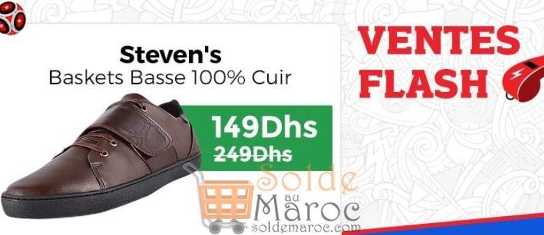 Ventes Flash Jumia Baskets Basse Steven's 100% Cuir 149Dhs au lieu de 249Dhs