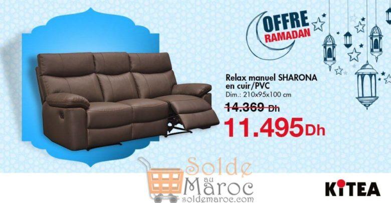 Offre Ramadan chez Kitea Relax manuel SHARONA en cuir 11495Dhs au lieu de 14369Dhs