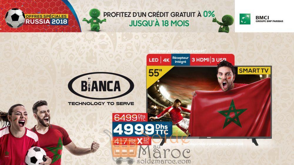 """Promo Le Comptoir Electro Smart TV BIANCA 4K 55"""" + Récepteur intégré 4990Dhs au lieu de 6499Dhs"""
