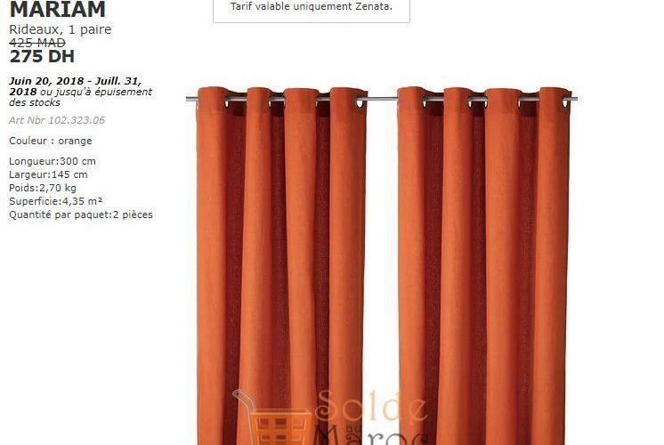 Soldes Ikea Maroc Rideaux 1 paire MARIAM 275Dhs au lieu de 425Dhs