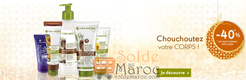 Promo Yves Rocher Maroc -40 % l'univers corps & soin visage