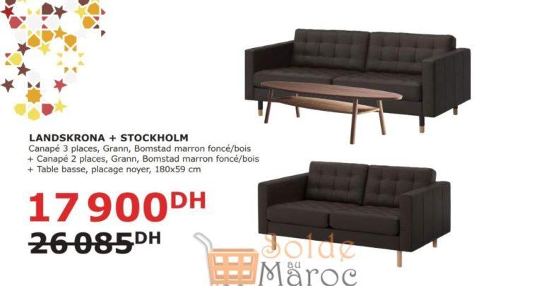 Soldes Ikea Maroc Canapé 3+2 + Table BAsse LANDSKRONA/STOCKHOLM 17900Dhs au lieu de 26085Dhs