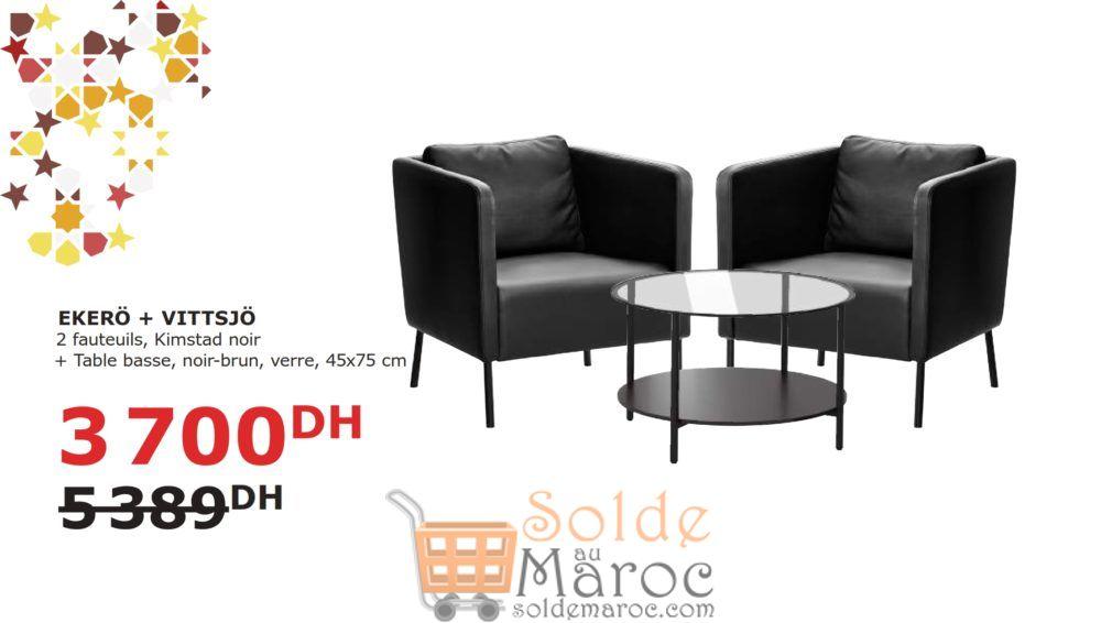 Soldes Ikea Maroc 2 Fauteuils + Table basse EKERO/VISTTSJO 3700Dhs au lieu de 5389Dhs
