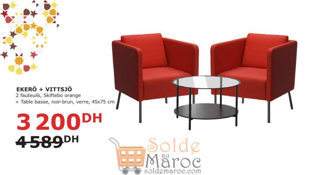 Soldes Ikea Maroc 2 Fauteuils + Table Basse EKERO/VISTTSJO 3200Dhs au lieu de 4589DHs